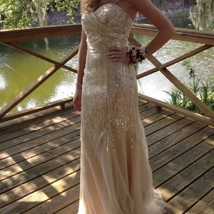 Night Moves Dresses - Night Moves Gold Sequined Gown